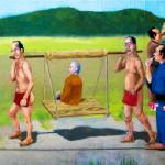 籠に乗る人・餅の施行・三味線と太鼓の施行