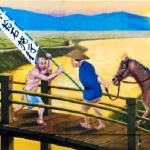 二上山へ沈む夕日・施行米を持って高田川の橋を渡る人々・太神宮灯篭